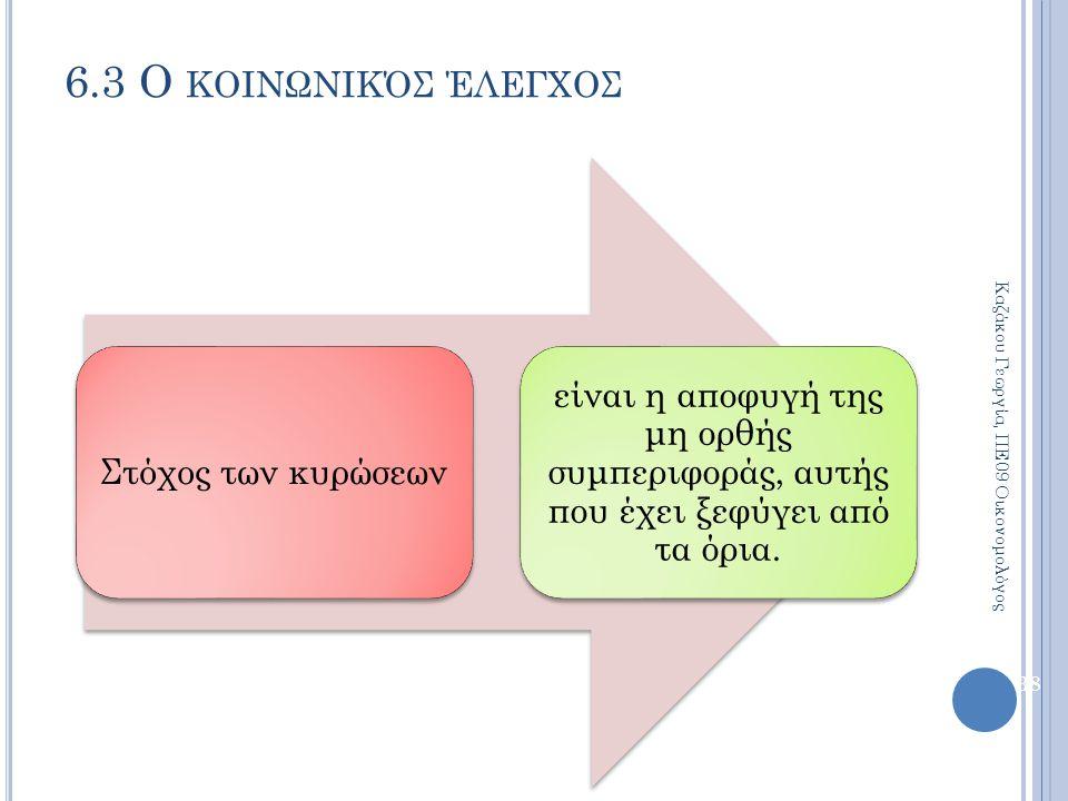 Στόχος των κυρώσεων είναι η αποφυγή της μη ορθής συμπεριφοράς, αυτής που έχει ξεφύγει από τα όρια. 38 6.3 Ο ΚΟΙΝΩΝΙΚΌΣ ΈΛΕΓΧΟΣ Καζάκου Γεωργία, ΠΕ09 Ο