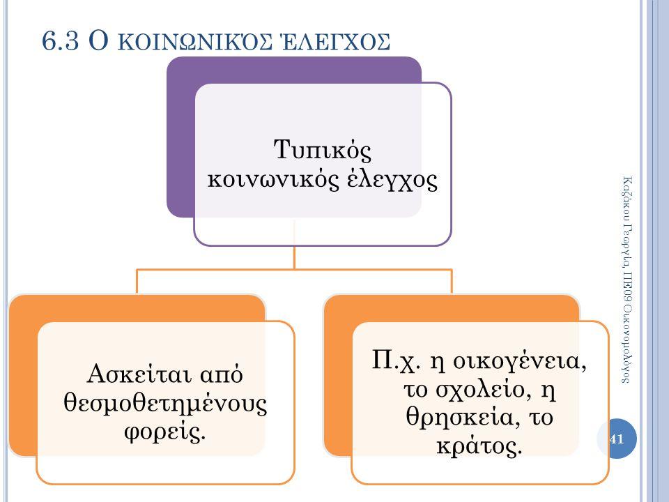 Τυπικός κοινωνικός έλεγχος Ασκείται από θεσμοθετημένους φορείς. Π.χ. η οικογένεια, το σχολείο, η θρησκεία, το κράτος. 6.3 Ο ΚΟΙΝΩΝΙΚΌΣ ΈΛΕΓΧΟΣ Καζάκου