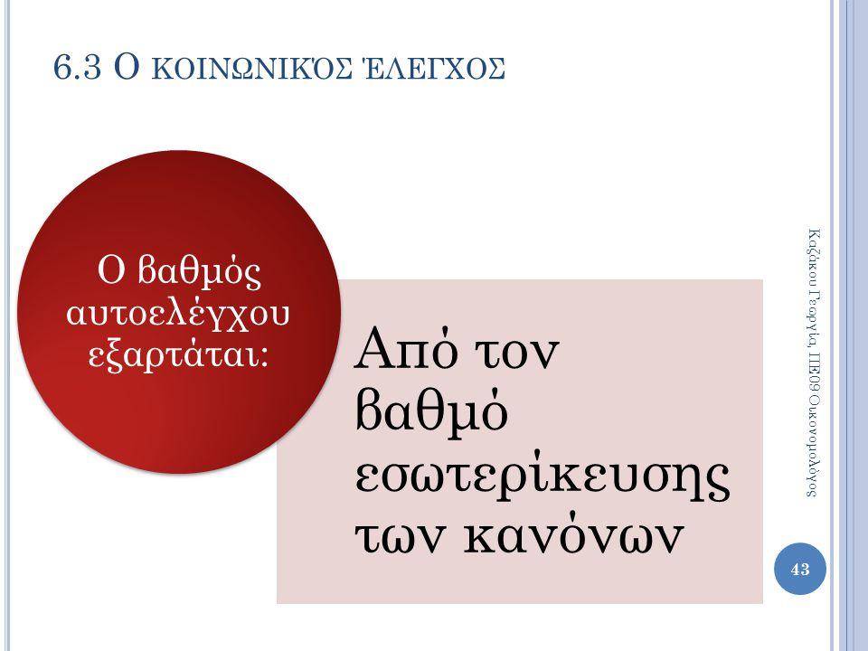 Από τον βαθμό εσωτερίκευσης των κανόνων Ο βαθμός αυτοελέγχου εξαρτάται: 6.3 Ο ΚΟΙΝΩΝΙΚΌΣ ΈΛΕΓΧΟΣ Καζάκου Γεωργία, ΠΕ09 Οικονομολόγος 43