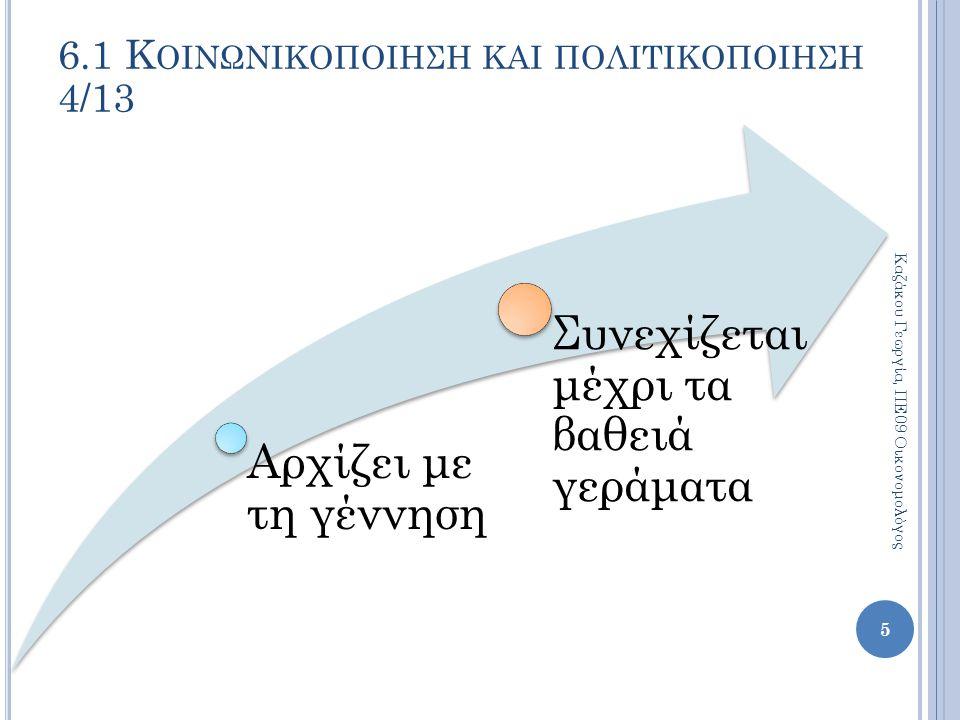 Αρχίζει με τη γέννηση Συνεχίζεται μέχρι τα βαθειά γεράματα Καζάκου Γεωργία, ΠΕ09 Οικονομολόγος 5 6.1 Κ ΟΙΝΩΝΙΚΟΠΟΙΗΣΗ ΚΑΙ ΠΟΛΙΤΙΚΟΠΟΙΗΣΗ 4/13