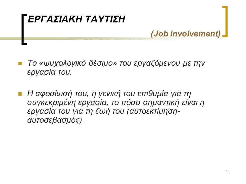 18 ΕΡΓΑΣΙΑΚΗ ΤΑΥΤΙΣΗ (Job involvement) Το «ψυχολογικό δέσιμο» του εργαζόμενου με την εργασία του. Η αφοσίωσή του, η γενική του επιθυμία για τη συγκεκρ