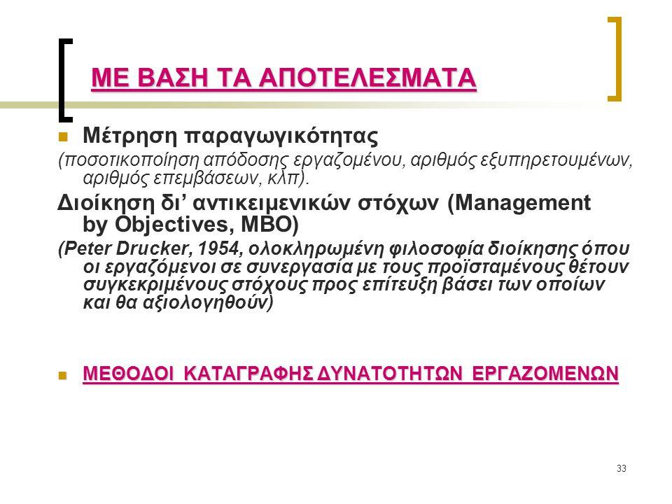 33 Μέτρηση παραγωγικότητας (ποσοτικοποίηση απόδοσης εργαζομένου, αριθμός εξυπηρετουμένων, αριθμός επεμβάσεων, κλπ). Διοίκηση δι' αντικειμενικών στόχων