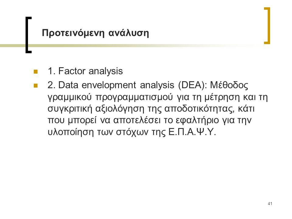 1. Factor analysis 2. Data envelopment analysis (DEA): Μέθοδος γραμμικού προγραμματισμού για τη μέτρηση και τη συγκριτική αξιολόγηση της αποδοτικότητα
