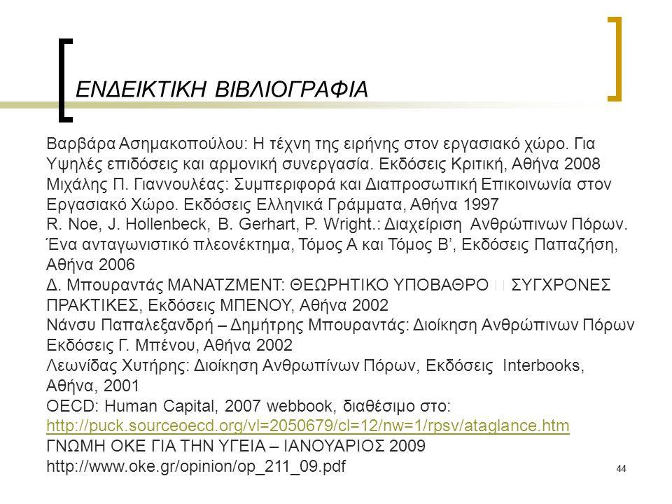 44 ΕΝΔΕΙΚΤΙΚΗ ΒΙΒΛΙΟΓΡΑΦΙΑ Βαρβάρα Ασημακοπούλου: Η τέχνη της ειρήνης στον εργασιακό χώρο. Για Υψηλές επιδόσεις και αρμονική συνεργασία. Εκδόσεις Κριτ