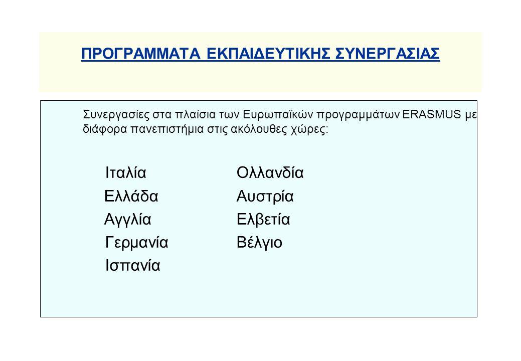 ΠΡΟΓΡΑΜΜΑΤΑ ΕΚΠΑΙΔΕΥΤΙΚΗΣ ΣΥΝΕΡΓΑΣΙΑΣ Συνεργασίες στα πλαίσια των Ευρωπαϊκών προγραμμάτων ERASMUS με διάφορα πανεπιστήμια στις ακόλουθες χώρες: ΙταλίαΟλλανδία ΕλλάδαΑυστρία ΑγγλίαΕλβετία ΓερμανίαΒέλγιο Ισπανία