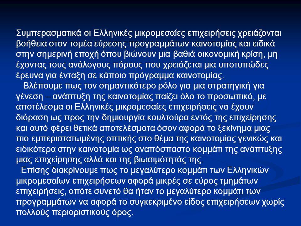 Συμπερασματικά οι Ελληνικές μικρομεσαίες επιχειρήσεις χρειάζονται βοήθεια στον τομέα εύρεσης προγραμμάτων καινοτομίας και ειδικά στην σημερινή εποχή όπου βιώνουν μια βαθιά οικονομική κρίση, μη έχοντας τους ανάλογους πόρους που χρειάζεται μια υποτυπώδες έρευνα για ένταξη σε κάποιο πρόγραμμα καινοτομίας.
