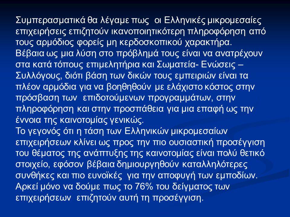 Συμπερασματικά θα λέγαμε πως οι Ελληνικές μικρομεσαίες επιχειρήσεις επιζητούν ικανοποιητικότερη πληροφόρηση από τους αρμόδιος φορείς μη κερδοσκοπικού χαρακτήρα.