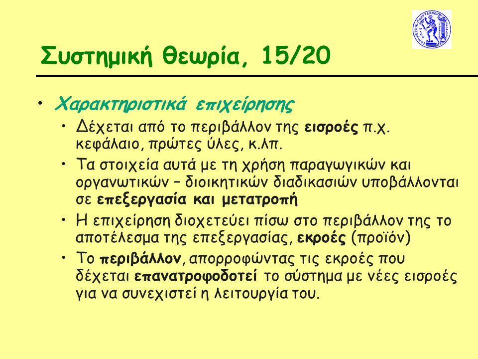 Συστημική θεωρία, 15/20 Χαρακτηριστικά επιχείρησης Δέχεται από το περιβάλλον της εισροές π.χ. κεφάλαιο, πρώτες ύλες, κ.λπ. Τα στοιχεία αυτά με τη χρήσ