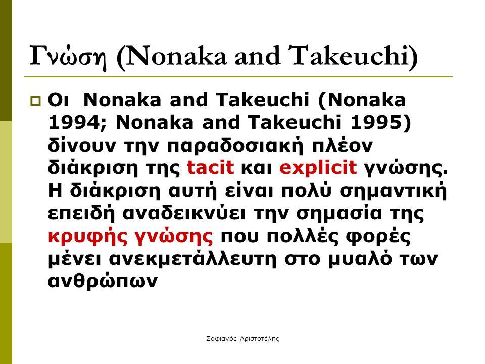 Σοφιανός Αριστοτέλης Γνώση (Nonaka and Takeuchi)  Οι Nonaka and Takeuchi (Nonaka 1994; Nonaka and Takeuchi 1995) δίνουν την παραδοσιακή πλέον διάκρισ