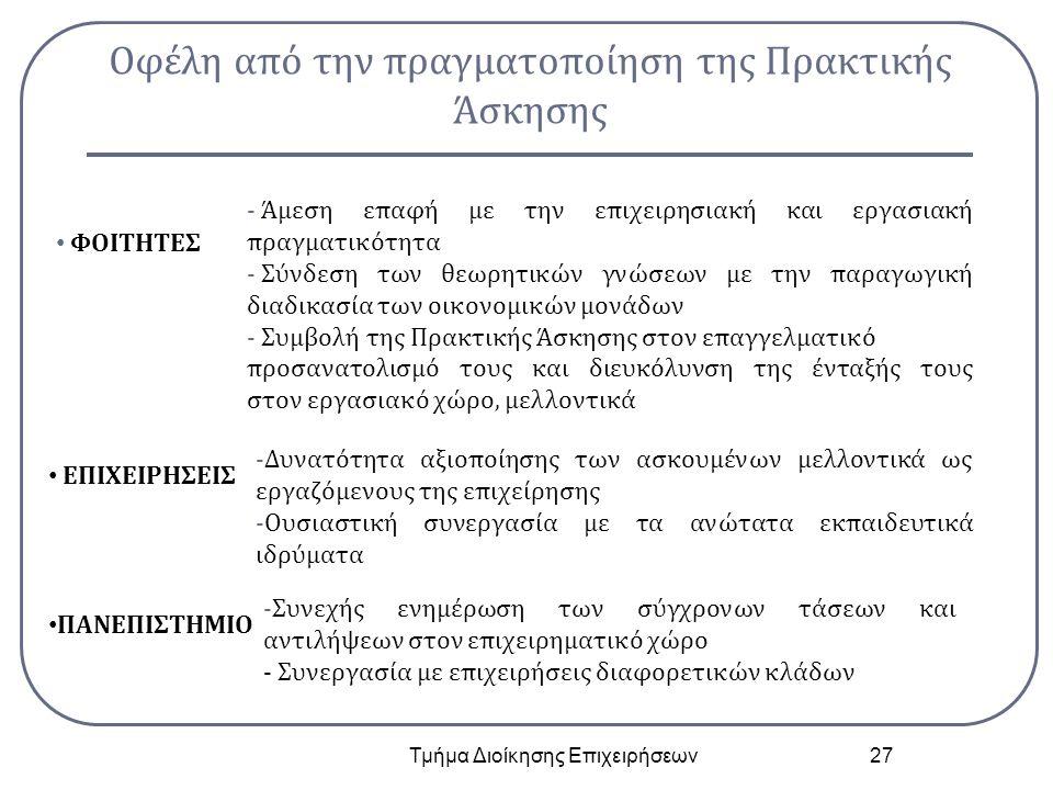 Οφέλη από την πραγματοποίηση της Πρακτικής Άσκησης Τμήμα Διοίκησης Επιχειρήσεων 27 ΦΟΙΤΗΤΕΣ - Άμεση επαφή με την επιχειρησιακή και εργασιακή πραγματικότητα - Σύνδεση των θεωρητικών γνώσεων με την παραγωγική διαδικασία των οικονομικών μονάδων - Συμβολή της Πρακτικής Άσκησης στον επαγγελματικό προσανατολισμό τους και διευκόλυνση της ένταξής τους στον εργασιακό χώρο, μελλοντικά ΕΠΙΧΕΙΡΗΣΕΙΣ -Δυνατότητα αξιοποίησης των ασκουμένων μελλοντικά ως εργαζόμενους της επιχείρησης -Ουσιαστική συνεργασία με τα ανώτατα εκπαιδευτικά ιδρύματα ΠΑΝΕΠΙΣΤΗΜΙΟ -Συνεχής ενημέρωση των σύγχρονων τάσεων και αντιλήψεων στον επιχειρηματικό χώρο - Συνεργασία με επιχειρήσεις διαφορετικών κλάδων