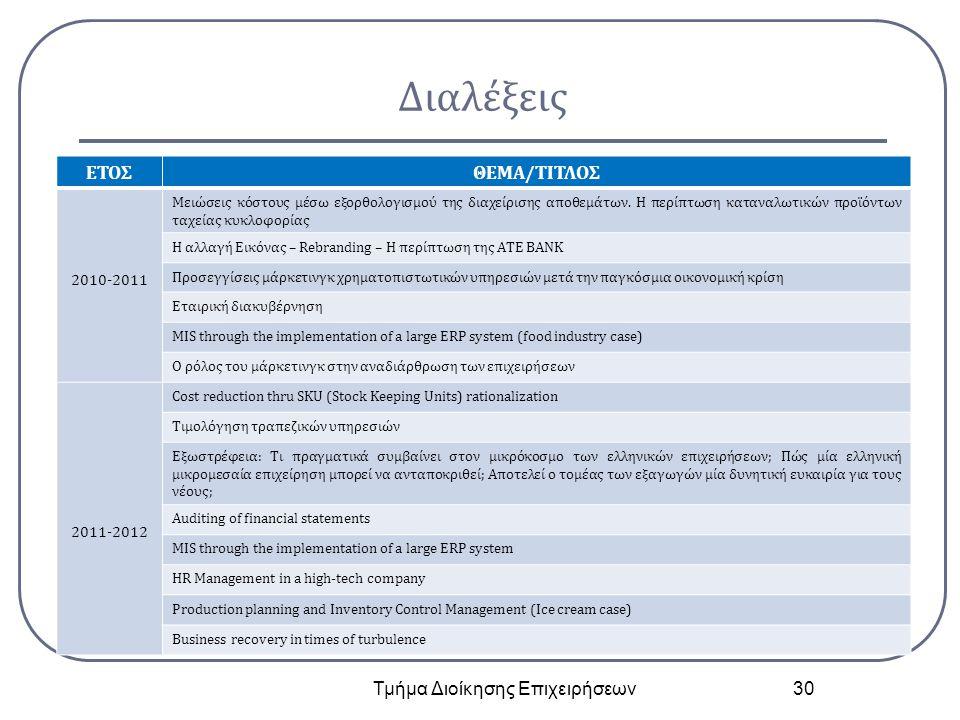 Διαλέξεις Τμήμα Διοίκησης Επιχειρήσεων 30 ΕΤΟΣΘΕΜΑ/ΤΙΤΛΟΣ 2010-2011 Μειώσεις κόστους μέσω εξορθολογισμού της διαχείρισης αποθεμάτων.