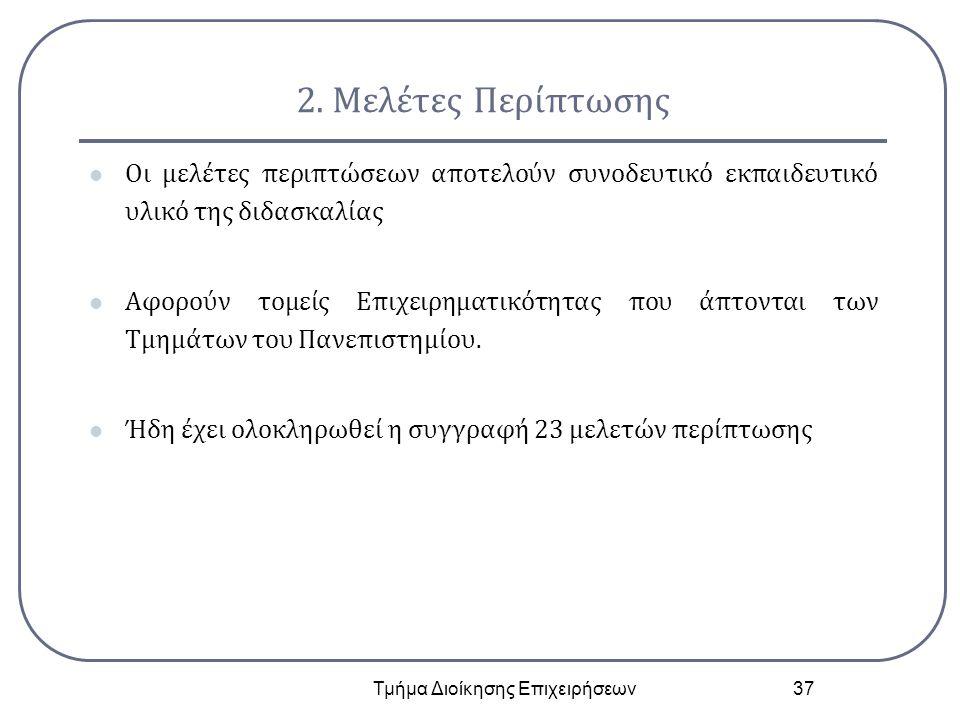 2. Μελέτες Περίπτωσης Οι μελέτες περιπτώσεων αποτελούν συνοδευτικό εκπαιδευτικό υλικό της διδασκαλίας Αφορούν τομείς Επιχειρηματικότητας που άπτονται