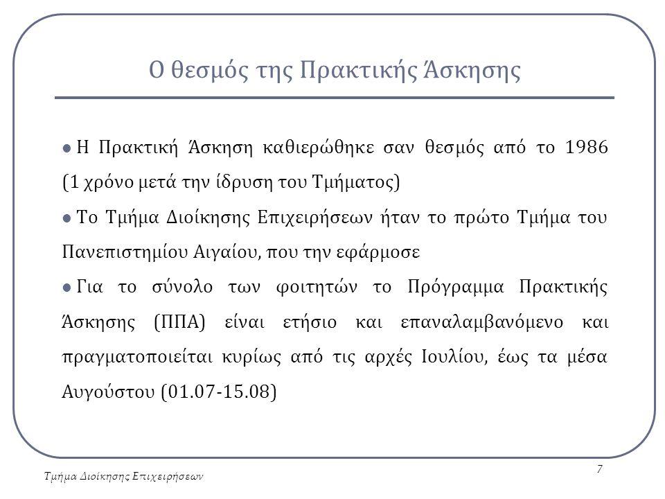Ο θεσμός της Πρακτικής Άσκησης Ειδικά για τους τελειόφοιτους φοιτητές η Πρακτική Άσκηση πραγματοποιείται καθ' όλη τη διάρκεια του έτους σε τέσσερις κύκλους: - 1 ος κύκλος: 01.01-31.03 - 2 ος κύκλος: 01.04-30.06 - 3 ος κύκλος: 01.07-30.09 - 4 ος κύκλος: 01.10-31.12 Η μέση διάρκειά της είναι 1,5 μήνας Η αποζημίωση των ασκουμένων κυμαίνεται από € 300 έως € 400 μηνιαίως, ανάλογα με το ποσό της χρηματοδότησης κάθε φορά Τμήμα Διοίκησης Επιχειρήσεων 8