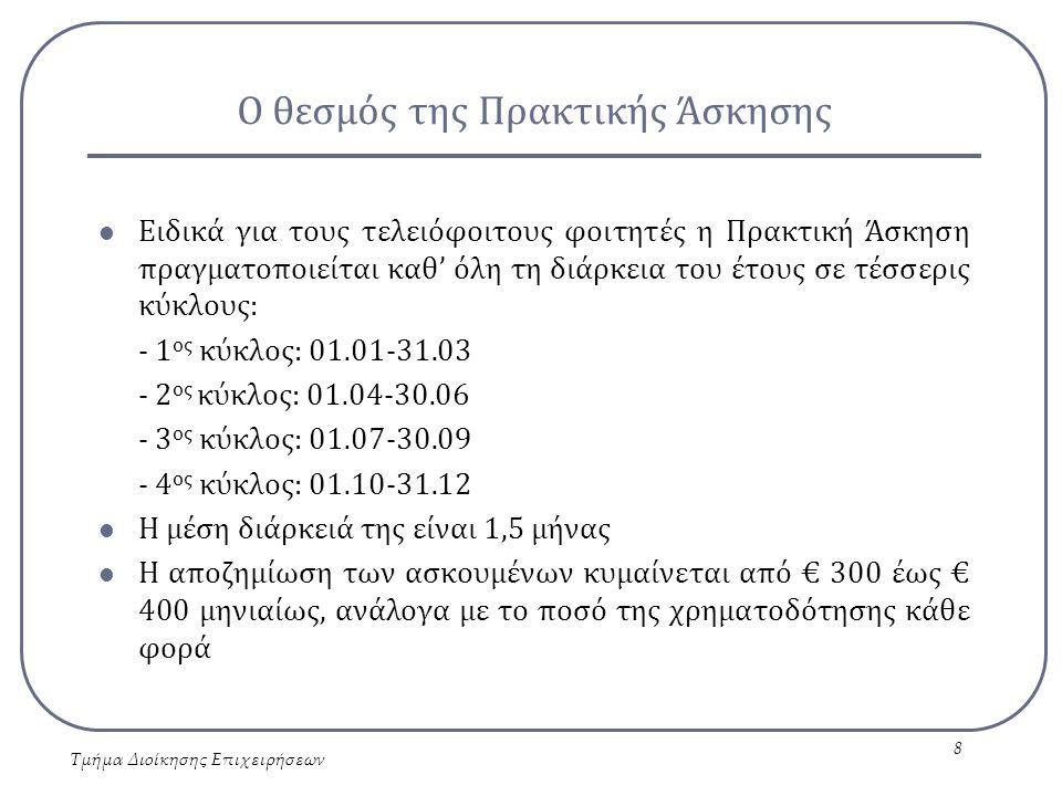 Η Πρακτική Άσκηση στον Οδηγό Σπουδών Τμήμα Διοίκησης Επιχειρήσεων 9 ΠΡΑΚΤΙΚΗ ΑΣΚΗΣΗ Παράπλευρη δραστηριότητα, η οποία μπορεί να πραγματοποιηθεί παραπάνω από μία (1) φορά από τον φοιτητή Μάθημα Ελεύθερης Επιλογής (ΕΕ) με τρεις (3) διδακτικές μονάδες, το οποίο έχει τη δυνατότητα μόνο μία (1) φορά να επιλέξει ο φοιτητής