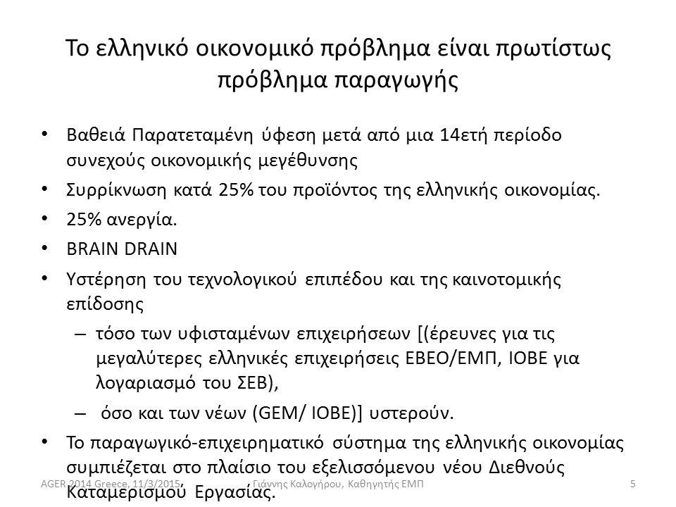 Το ελληνικό οικονομικό πρόβλημα είναι πρωτίστως πρόβλημα παραγωγής Βαθειά Παρατεταμένη ύφεση μετά από μια 14ετή περίοδο συνεχούς οικονομικής μεγέθυνσης Συρρίκνωση κατά 25% του προϊόντος της ελληνικής οικονομίας.