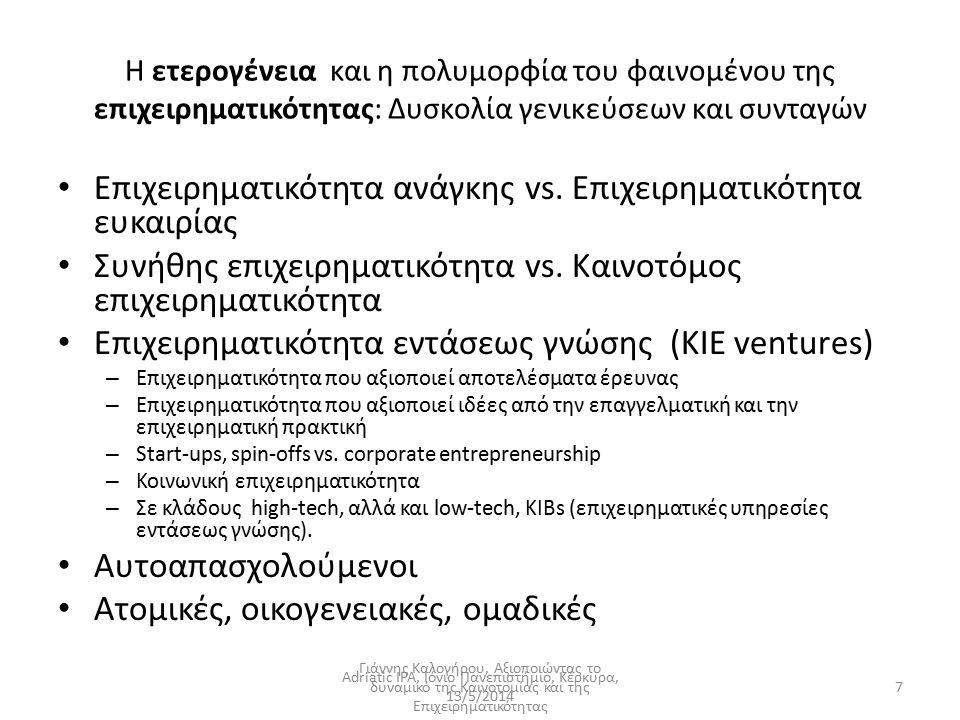 Η ετερογένεια και η πολυμορφία του φαινομένου της επιχειρηματικότητας: Δυσκολία γενικεύσεων και συνταγών Επιχειρηματικότητα ανάγκης vs. Επιχειρηματικό