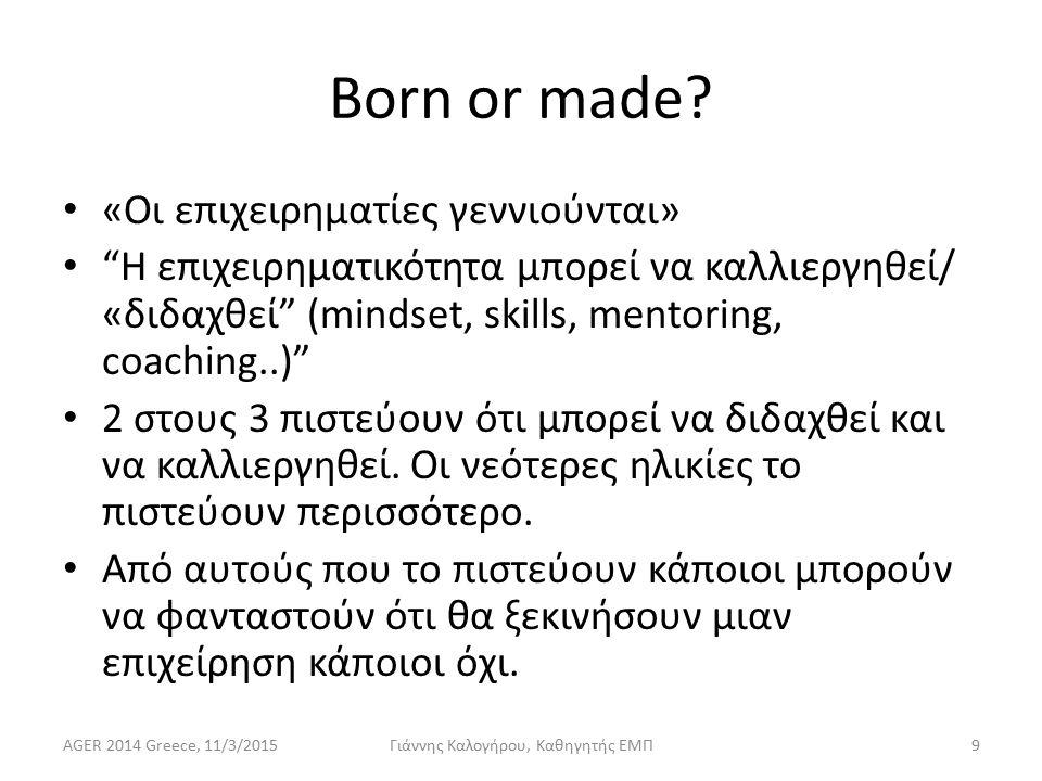 Εκπαίδευση στην Επιχειρηματικότητα Οι περισσότεροι δεν είναι ευχαριστημένοι από την προσφερόμενη εκπαίδευση  σοβαρό περιθώριο βελτίωσης Σε ποιους απευθύνεται η προσφορά εκπαίδευσης και coaching: ------|---------------------------------|-------------------- Τι αφορά: Mindsets, skills, Knowledge, practices, attitudes, εξατομικευμένη υποστήριξη… Έχει σχέση και με νοοτροπίες: Would I?, Should I.