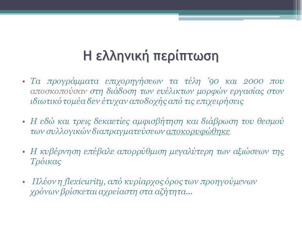 Η ελληνική περίπτωση Τα προγράμματα επιχορηγήσεων τα τέλη '90 και 2000 που αποσκοπούσαν στη διάδοση των ευέλικτων μορφών εργασίας στον ιδιωτικό τομέα δεν έτυχαν αποδοχής από τις επιχειρήσεις Η εδώ και τρεις δεκαετίες αμφισβήτηση και διάβρωση του θεσμού των συλλογικών διαπραγματεύσεων αποκορυφώθηκε Η κυβέρνηση επέβαλε απορρύθμιση μεγαλύτερη των αξιώσεων της Τρόικας Πλέον η flexicurity, από κυρίαρχος όρος των προηγούμενων χρόνων βρίσκεται αχρείαστη στα αζήτητα...