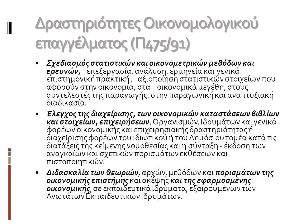 Δραστηριότητες Οικονομολογικού επαγγέλματος (Π475/91)  Σχεδιασμός στατιστικών και οικονομετρικών μεθόδων και ερευνών, επεξεργασία, ανάλυση, ερμηνεία