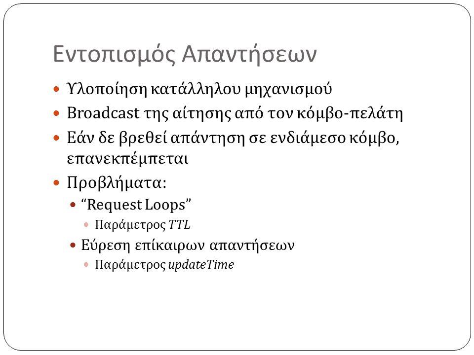 Εντοπισμός Απαντήσεων Υλοποίηση κατάλληλου μηχανισμού Broadcast της αίτησης από τον κόμβο-πελάτη Εάν δε βρεθεί απάντηση σε ενδιάμεσο κόμβο, επανεκπέμπεται Προβλήματα: Request Loops Παράμετρος TTL Εύρεση επίκαιρων απαντήσεων Παράμετρος updateTime