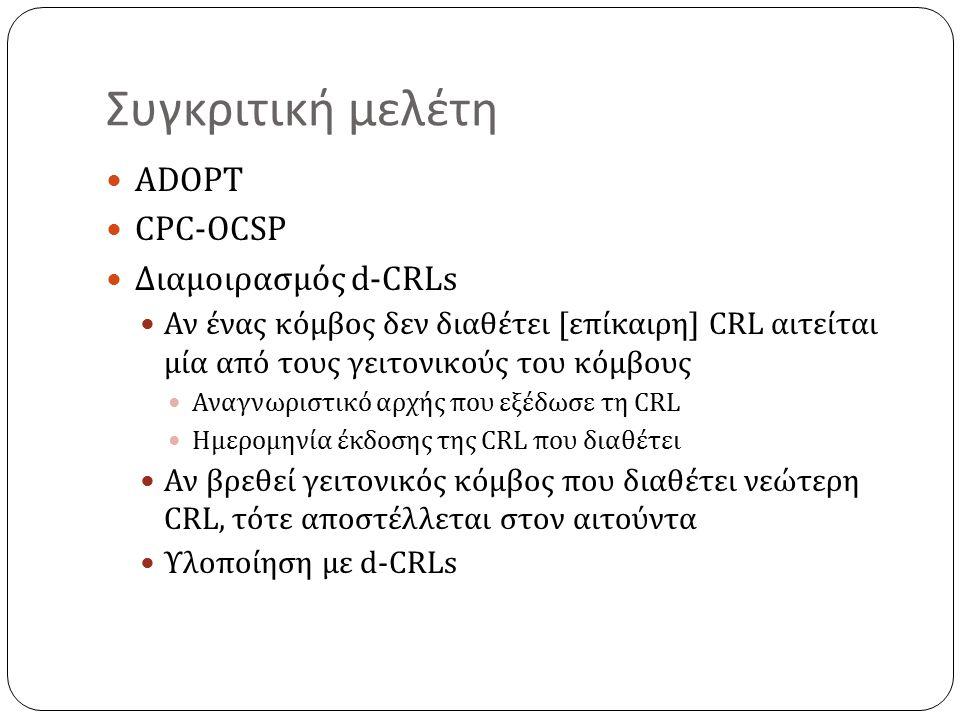 Συγκριτική μελέτη ADOPT CPC-OCSP Διαμοιρασμός d-CRLs Αν ένας κόμβος δεν διαθέτει [επίκαιρη] CRL αιτείται μία από τους γειτονικούς του κόμβους Αναγνωριστικό αρχής που εξέδωσε τη CRL Ημερομηνία έκδοσης της CRL που διαθέτει Αν βρεθεί γειτονικός κόμβος που διαθέτει νεώτερη CRL, τότε αποστέλλεται στον αιτούντα Υλοποίηση με d-CRLs