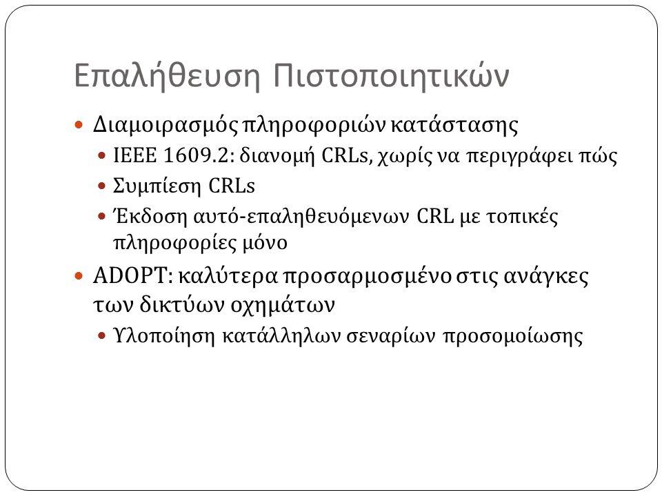 Επαλήθευση Πιστοποιητικών Διαμοιρασμός πληροφοριών κατάστασης IEEE 1609.2: διανομή CRLs, χωρίς να περιγράφει πώς Συμπίεση CRLs Έκδοση αυτό-επαληθευόμενων CRL με τοπικές πληροφορίες μόνο ADOPT: καλύτερα προσαρμοσμένο στις ανάγκες των δικτύων οχημάτων Υλοποίηση κατάλληλων σεναρίων προσομοίωσης