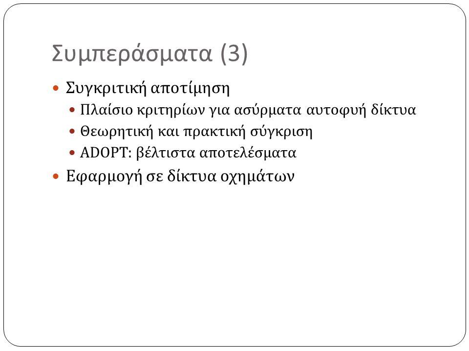 Συμπεράσματα (3) Συγκριτική αποτίμηση Πλαίσιο κριτηρίων για ασύρματα αυτοφυή δίκτυα Θεωρητική και πρακτική σύγκριση ADOPT: βέλτιστα αποτελέσματα Εφαρμογή σε δίκτυα οχημάτων
