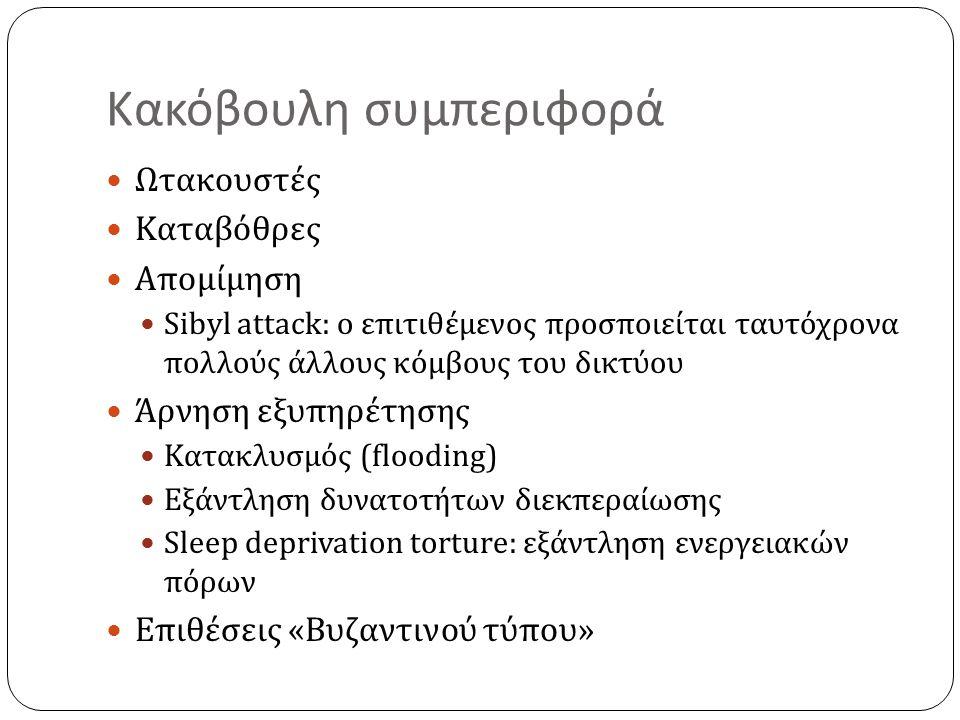 Κακόβουλη συμπεριφορά Ωτακουστές Καταβόθρες Απομίμηση Sibyl attack: ο επιτιθέμενος προσποιείται ταυτόχρονα πολλούς άλλους κόμβους του δικτύου Άρνηση εξυπηρέτησης Κατακλυσμός (flooding) Εξάντληση δυνατοτήτων διεκπεραίωσης Sleep deprivation torture: εξάντληση ενεργειακών πόρων Επιθέσεις «Βυζαντινού τύπου»