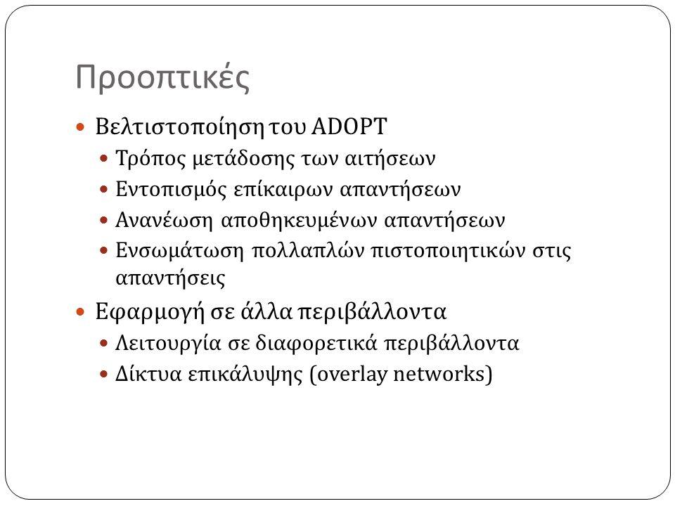 Προοπτικές Βελτιστοποίηση του ADOPT Τρόπος μετάδοσης των αιτήσεων Εντοπισμός επίκαιρων απαντήσεων Ανανέωση αποθηκευμένων απαντήσεων Ενσωμάτωση πολλαπλών πιστοποιητικών στις απαντήσεις Εφαρμογή σε άλλα περιβάλλοντα Λειτουργία σε διαφορετικά περιβάλλοντα Δίκτυα επικάλυψης (overlay networks)