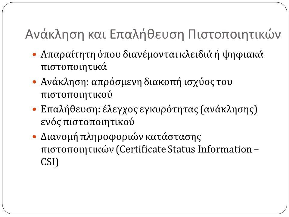 Ανάκληση και Επαλήθευση Πιστοποιητικών Απαραίτητη όπου διανέμονται κλειδιά ή ψηφιακά πιστοποιητικά Ανάκληση: απρόσμενη διακοπή ισχύος του πιστοποιητικού Επαλήθευση: έλεγχος εγκυρότητας (ανάκλησης) ενός πιστοποιητικού Διανομή πληροφοριών κατάστασης πιστοποιητικών (Certificate Status Information – CSI)