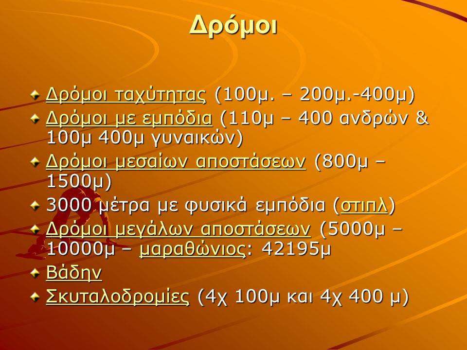 Δρόμοι Δρόμοι ταχύτηταςΔρόμοι ταχύτητας (100μ. – 200μ.-400μ) Δρόμοι ταχύτητας Δρόμοι με εμπόδιαΔρόμοι με εμπόδια (110μ – 400 ανδρών & 100μ 400μ γυναικ