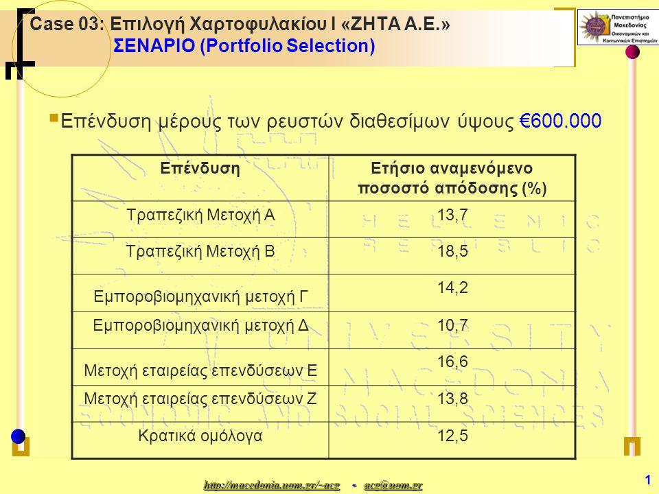 http://macedonia.uom.gr/~acghttp://macedonia.uom.gr/~acg - acg@uom.gr acg@uom.gr http://macedonia.uom.gr/~acgacg@uom.gr 1 Case 03: Επιλογή Χαρτοφυλακίου Ι «ΖΗΤΑ A.E.» ΣΕΝΑΡΙΟ (Portfolio Selection)  Επένδυση μέρους των ρευστών διαθεσίμων ύψους €600.000 ΕπένδυσηΕτήσιο αναμενόμενο ποσοστό απόδοσης (%) Τραπεζική Μετοχή Α13,7 Τραπεζική Μετοχή Β18,5 Εμποροβιομηχανική μετοχή Γ 14,2 Εμποροβιομηχανική μετοχή Δ10,7 Μετοχή εταιρείας επενδύσεων Ε 16,6 Μετοχή εταιρείας επενδύσεων Ζ13,8 Κρατικά ομόλογα12,5
