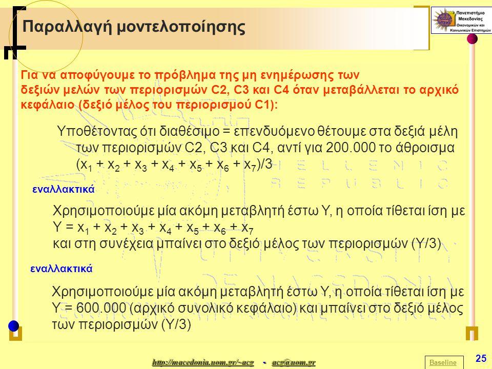 http://macedonia.uom.gr/~acghttp://macedonia.uom.gr/~acg - acg@uom.gr acg@uom.gr http://macedonia.uom.gr/~acgacg@uom.gr 25 Παραλλαγή μοντελοποίησης Baseline Για να αποφύγουμε το πρόβλημα της μη ενημέρωσης των δεξιών μελών των περιορισμών C2, C3 και C4 όταν μεταβάλλεται το αρχικό κεφάλαιο (δεξιό μέλος του περιορισμού C1): Υποθέτοντας ότι διαθέσιμο = επενδυόμενο θέτουμε στα δεξιά μέλη των περιορισμών C2, C3 και C4, αντί για 200.000 το άθροισμα (x 1 + x 2 + x 3 + x 4 + x 5 + x 6 + x 7 )/3 εναλλακτικά Χρησιμοποιούμε μία ακόμη μεταβλητή έστω Υ, η οποία τίθεται ίση με Υ = x 1 + x 2 + x 3 + x 4 + x 5 + x 6 + x 7 και στη συνέχεια μπαίνει στο δεξιό μέλος των περιορισμών (Υ/3) Χρησιμοποιούμε μία ακόμη μεταβλητή έστω Υ, η οποία τίθεται ίση με Υ = 600.000 (αρχικό συνολικό κεφάλαιο) και μπαίνει στο δεξιό μέλος των περιορισμών (Υ/3) εναλλακτικά
