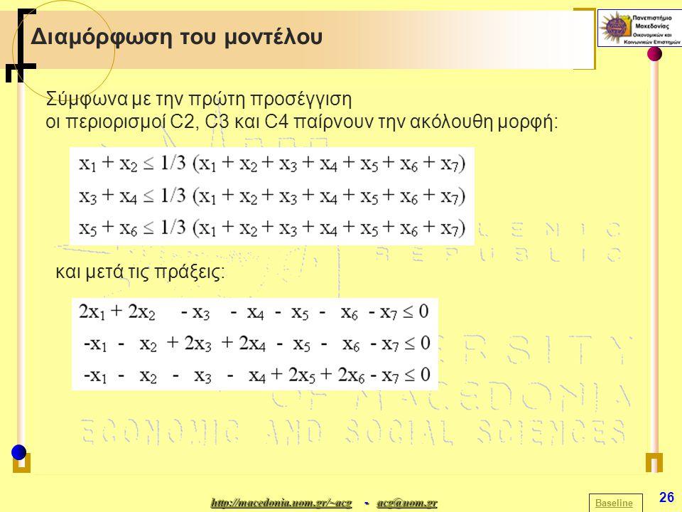 http://macedonia.uom.gr/~acghttp://macedonia.uom.gr/~acg - acg@uom.gr acg@uom.gr http://macedonia.uom.gr/~acgacg@uom.gr 26 Διαμόρφωση του μοντέλου Baseline Σύμφωνα με την πρώτη προσέγγιση οι περιορισμοί C2, C3 και C4 παίρνουν την ακόλουθη μορφή: και μετά τις πράξεις: