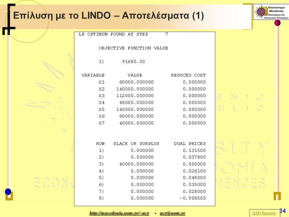 http://macedonia.uom.gr/~acghttp://macedonia.uom.gr/~acg - acg@uom.gr acg@uom.gr http://macedonia.uom.gr/~acgacg@uom.gr 34 Επίλυση με το LINDO – Αποτελέσματα (1) QSB Results