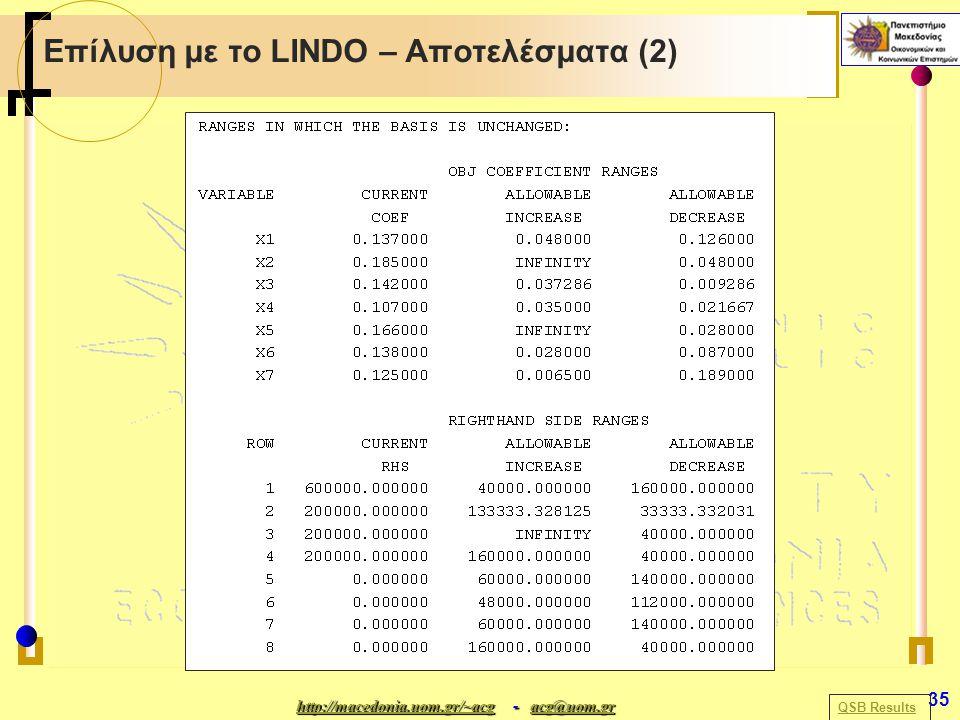 http://macedonia.uom.gr/~acghttp://macedonia.uom.gr/~acg - acg@uom.gr acg@uom.gr http://macedonia.uom.gr/~acgacg@uom.gr 35 Επίλυση με το LINDO – Αποτελέσματα (2) QSB Results