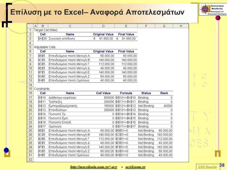 http://macedonia.uom.gr/~acghttp://macedonia.uom.gr/~acg - acg@uom.gr acg@uom.gr http://macedonia.uom.gr/~acgacg@uom.gr 38 Επίλυση με το Excel– Αναφορά Αποτελεσμάτων QSB Results