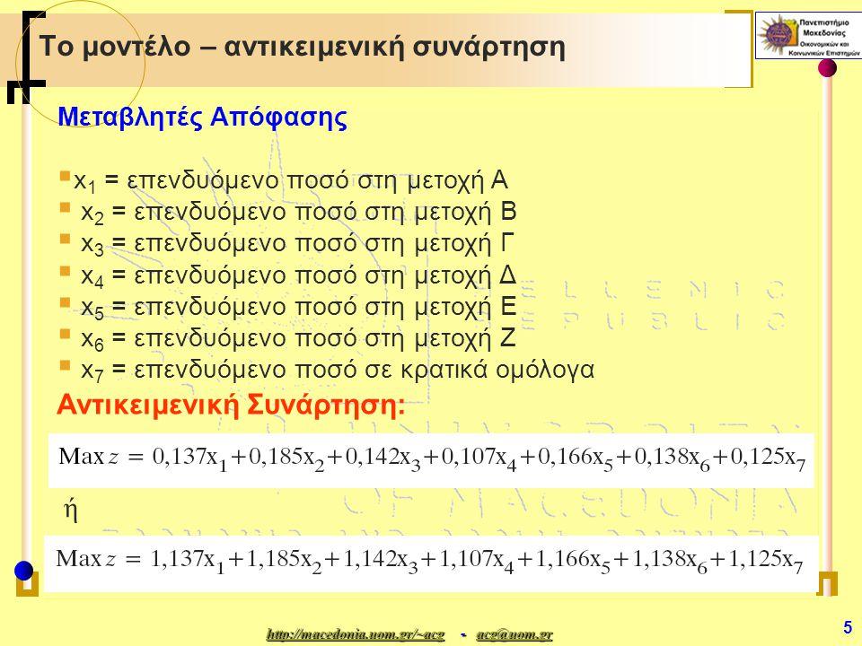 http://macedonia.uom.gr/~acghttp://macedonia.uom.gr/~acg - acg@uom.gr acg@uom.gr http://macedonia.uom.gr/~acgacg@uom.gr 5 Το μοντέλο – αντικειμενική συνάρτηση Μεταβλητές Απόφασης  x 1 = επενδυόμενο ποσό στη μετοχή Α  x 2 = επενδυόμενο ποσό στη μετοχή Β  x 3 = επενδυόμενο ποσό στη μετοχή Γ  x 4 = επενδυόμενο ποσό στη μετοχή Δ  x 5 = επενδυόμενο ποσό στη μετοχή Ε  x 6 = επενδυόμενο ποσό στη μετοχή Ζ  x 7 = επενδυόμενο ποσό σε κρατικά ομόλογα Αντικειμενική Συνάρτηση: ή