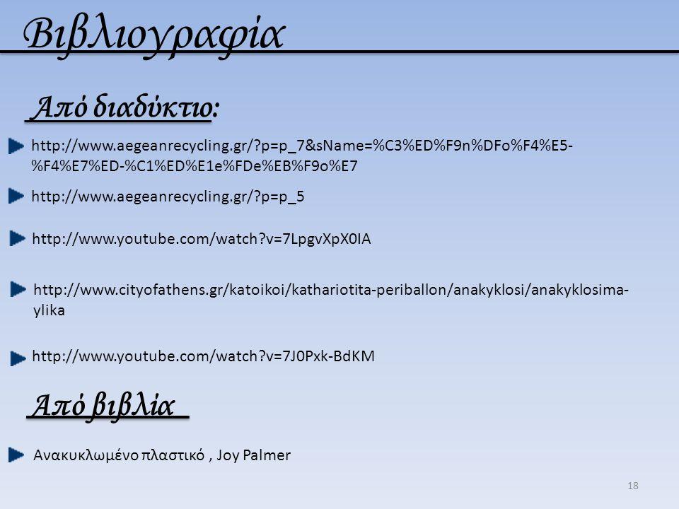 18 Βιβλιογραφία Από διαδύκτιο: http://www.aegeanrecycling.gr/?p=p_7&sName=%C3%ED%F9n%DFo%F4%E5- %F4%E7%ED-%C1%ED%E1e%FDe%EB%F9o%E7 http://www.aegeanre