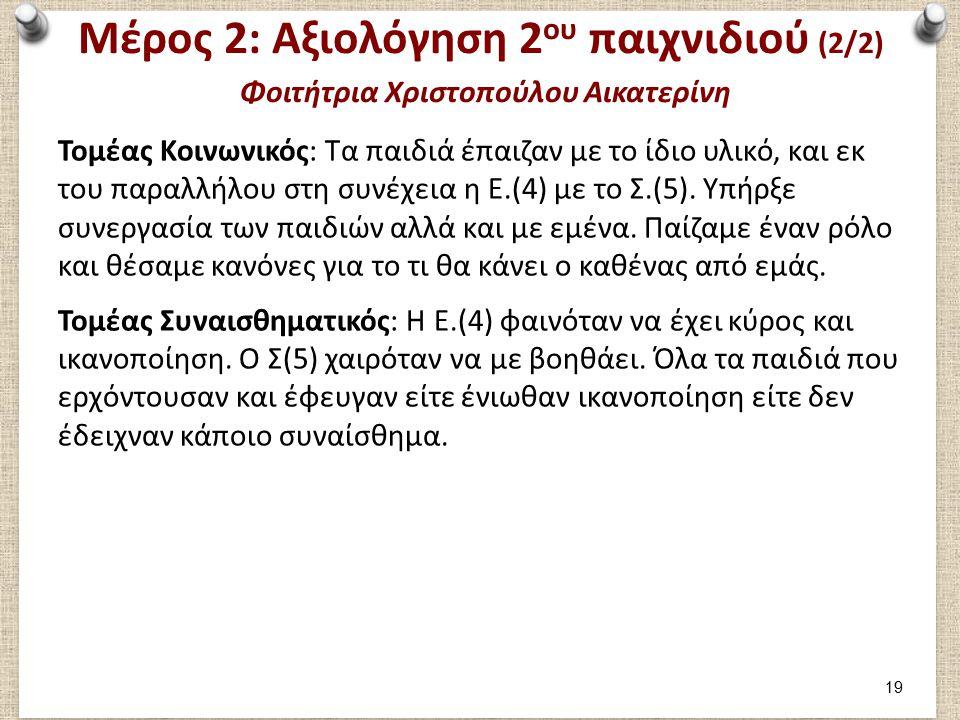 Μέρος 2: Αξιολόγηση 2 ου παιχνιδιού (2/2) Φοιτήτρια Χριστοπούλου Αικατερίνη Τομέας Κοινωνικός: Τα παιδιά έπαιζαν με το ίδιο υλικό, και εκ του παραλλήλου στη συνέχεια η Ε.(4) με το Σ.(5).
