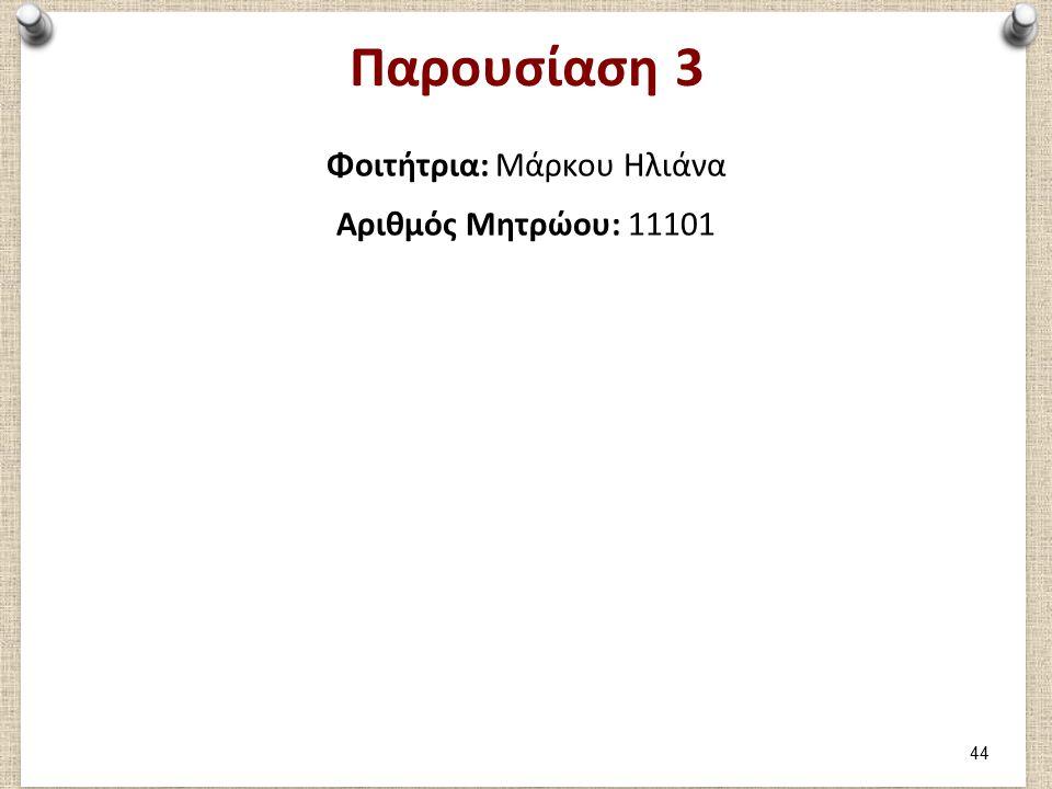 Παρουσίαση 3 Φοιτήτρια: Μάρκου Ηλιάνα Αριθμός Μητρώου: 11101 44