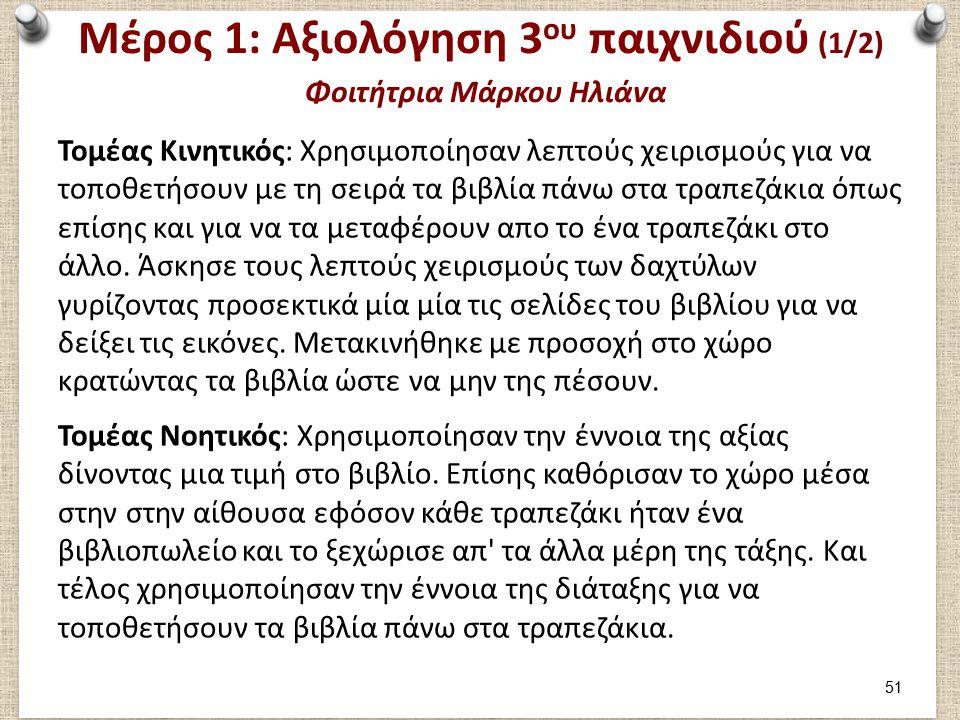 Μέρος 1: Αξιολόγηση 3 ου παιχνιδιού (1/2) Φοιτήτρια Μάρκου Ηλιάνα Τομέας Κινητικός: Χρησιμοποίησαν λεπτούς χειρισμούς για να τοποθετήσουν με τη σειρά τα βιβλία πάνω στα τραπεζάκια όπως επίσης και για να τα μεταφέρουν απο το ένα τραπεζάκι στο άλλο.
