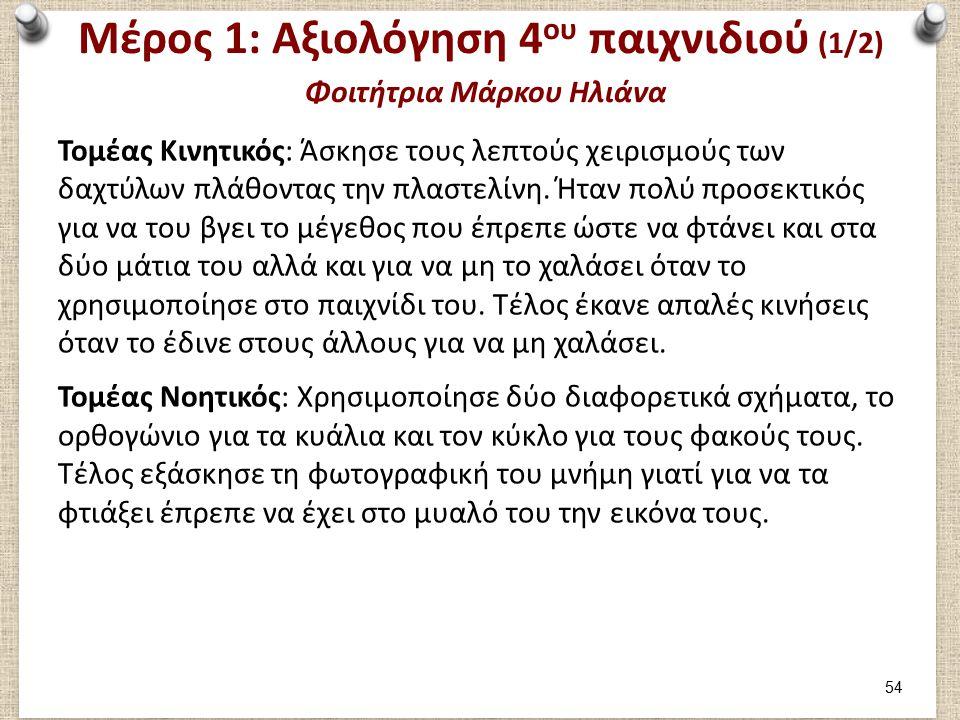 Μέρος 1: Αξιολόγηση 4 ου παιχνιδιού (1/2) Φοιτήτρια Μάρκου Ηλιάνα Τομέας Κινητικός: Άσκησε τους λεπτούς χειρισμούς των δαχτύλων πλάθοντας την πλαστελίνη.