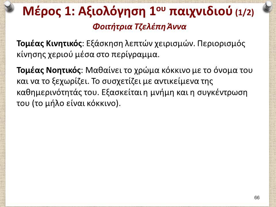 Μέρος 1: Αξιολόγηση 1 ου παιχνιδιού (1/2) Φοιτήτρια Τζελέπη Άννα Τομέας Κινητικός: Εξάσκηση λεπτών χειρισμών.