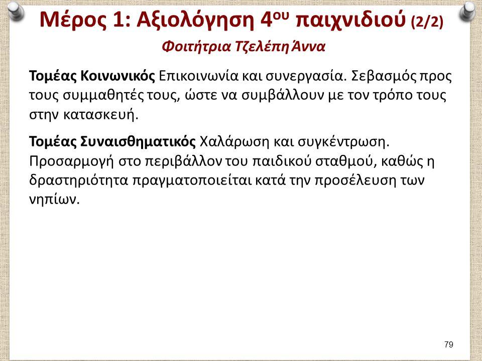 Μέρος 1: Αξιολόγηση 4 ου παιχνιδιού (2/2) Φοιτήτρια Τζελέπη Άννα Τομέας Κοινωνικός Επικοινωνία και συνεργασία.