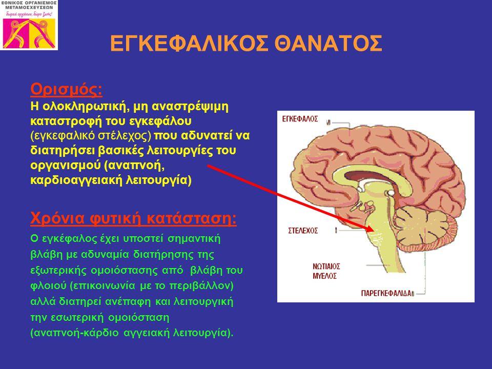 ΕΓΚΕΦΑΛΙΚΟΣ ΘΑΝΑΤΟΣ Ορισμός: Η ολοκληρωτική, μη αναστρέψιμη καταστροφή του εγκεφάλου (εγκεφαλικό στέλεχος) που αδυνατεί να διατηρήσει βασικές λειτουργ