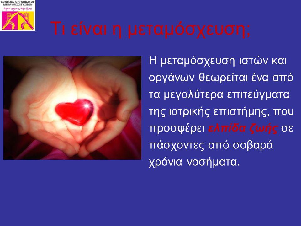 Στην πράξη η μεταμόσχευση αφορά μία χειρουργική επέμβαση κατά την οποία υγιείς ιστοί ή όργανα αφαιρούνται από ένα νεκρό ή ζώντα δότη και εμφυτεύονται στο σώμα ενός χρονίως πάσχοντα ανθρώπου.