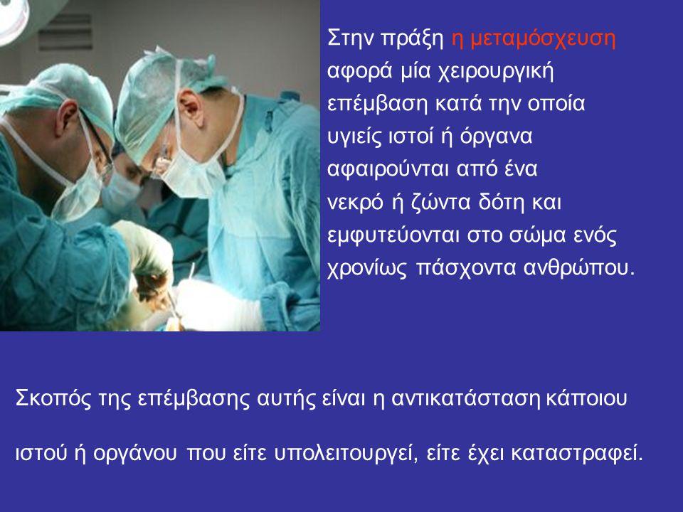 Στην πράξη η μεταμόσχευση αφορά μία χειρουργική επέμβαση κατά την οποία υγιείς ιστοί ή όργανα αφαιρούνται από ένα νεκρό ή ζώντα δότη και εμφυτεύονται