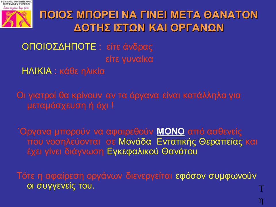 Επιβίωση μοσχεύματος 1 έτους Ιπποκράτειο Θεσσαλονίκης Νεφρός – Ζώντες: 97 % Νεφρός – Πτωματικές: 91% Ήπαρ: 91%