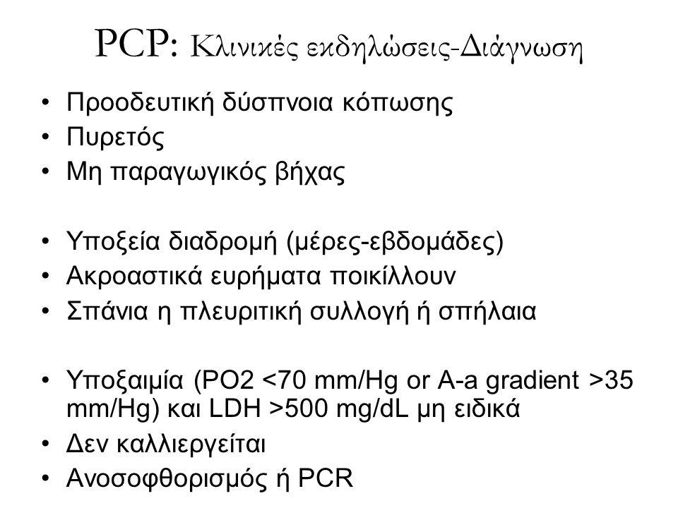 PCP: Κλινικές εκδηλώσεις-Διάγνωση Προοδευτική δύσπνοια κόπωσης Πυρετός Μη παραγωγικός βήχας Υποξεία διαδρομή (μέρες-εβδομάδες) Ακροαστικά ευρήματα ποι